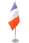 France Desk / Table Flag with chrome stand and base.